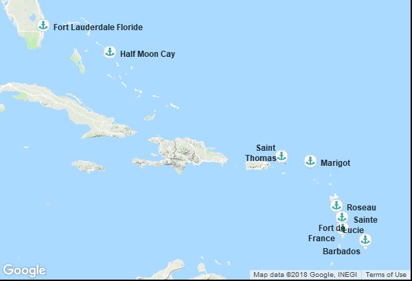 Itinéraire de la croisière : États-Unis, Saint Martin, Martinique, Sainte Lucie, Caraibes, Dominique, Îles Vierges, Bahamas