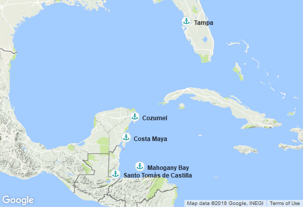 Itinéraire de la croisière : États-Unis, Mexique, Honduras, Guatemala