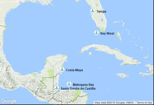 Itinéraire de la croisière : États-Unis, Honduras, Guatemala, Mexique