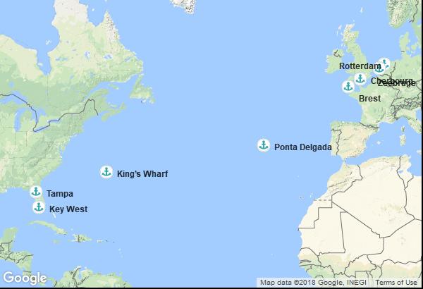 Itinéraire de la croisière : États-Unis, Bermudes, Portugal, France, Belgique, Pays Bas