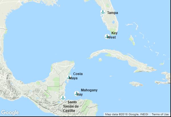Itinéraire de la croisière : États-Unis, Guatemala, Honduras, Mexique