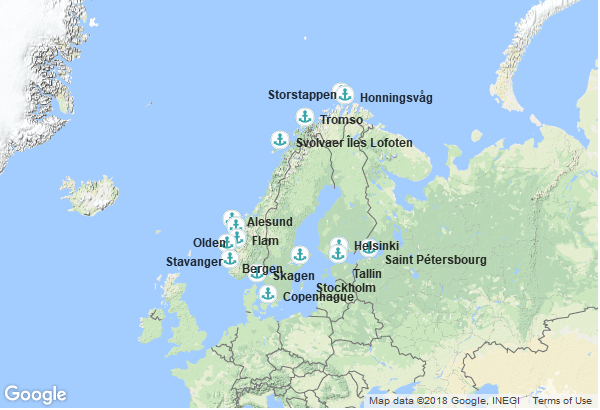 Itinéraire de la croisière : Danemark, Norvège, Estonie, Russie, Finlande, Suède