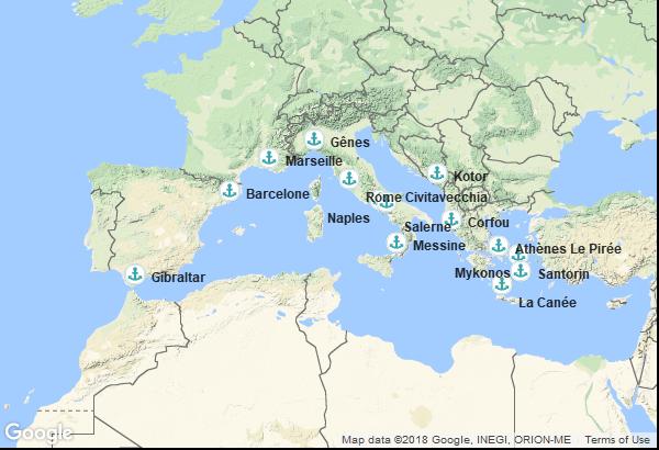 Itinéraire de la croisière : Espagne, Territoire Britannique d'outre-mer, France, Italie, Montenegro, Grèce