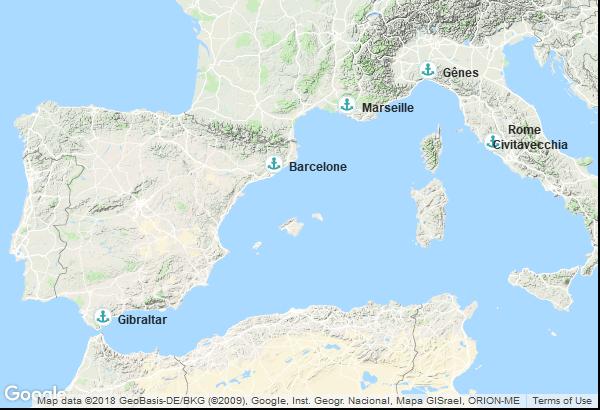 Itinéraire de la croisière : Espagne, Territoire Britannique d'outre-mer, France, Italie