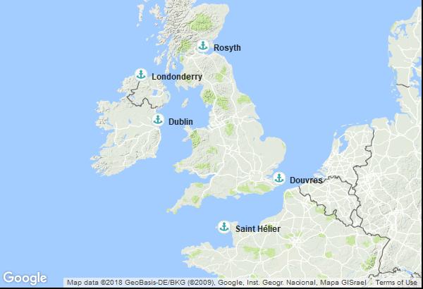 Itinéraire de la croisière : Angleterre, Îles Anglo-Normandes, Irlande, Irlande du Nord, Ecosse