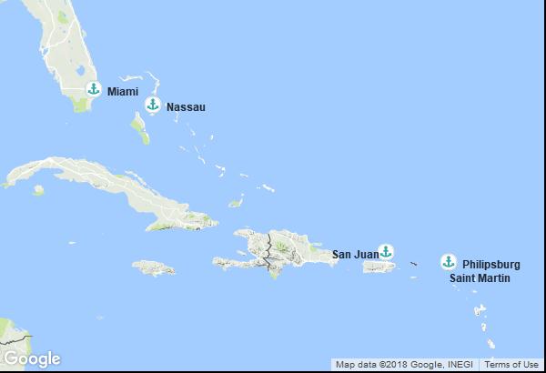 Itinéraire de la croisière : États-Unis, Bahamas, Porto Rico, Antilles néerlandaises