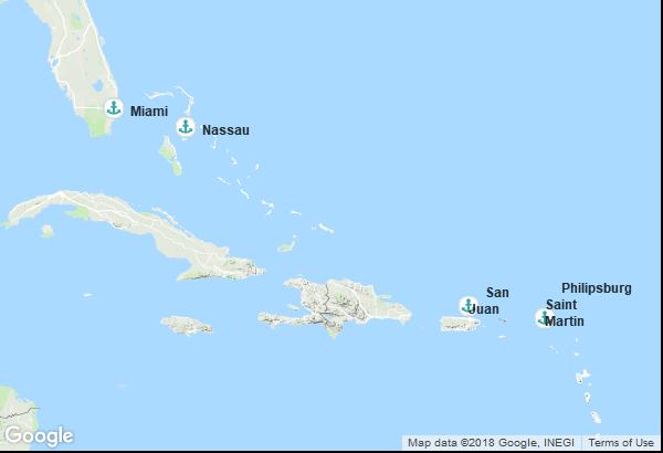 Itinéraire de la croisière : États-Unis, Antilles néerlandaises, Porto Rico, Bahamas