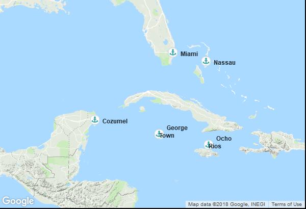 Itinéraire de la croisière : États-Unis, Jamaïque, Îles Caïmans, Mexique, Bahamas