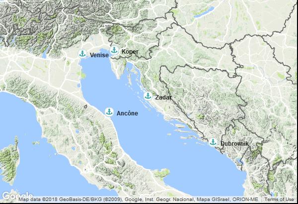 Itinéraire de la croisière : Italie, Slovénie, Croatie