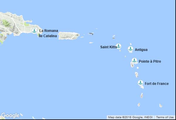 Itinéraire de la croisière : Guadeloupe, République Dominicaine, Saint-Christophe-et-Niévès, Antigua et Barbuda, Martinique