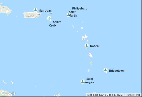 Itinéraire de la croisière : Porto Rico, Îles Vierges des États-Unis, Antilles néerlandaises, Dominique, Grenade, Barbade