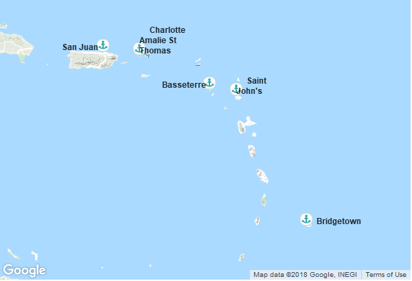 Itinéraire de la croisière : Porto Rico, Îles Vierges, Antigua et Barbuda, Barbade, Saint-Christophe-et-Niévès