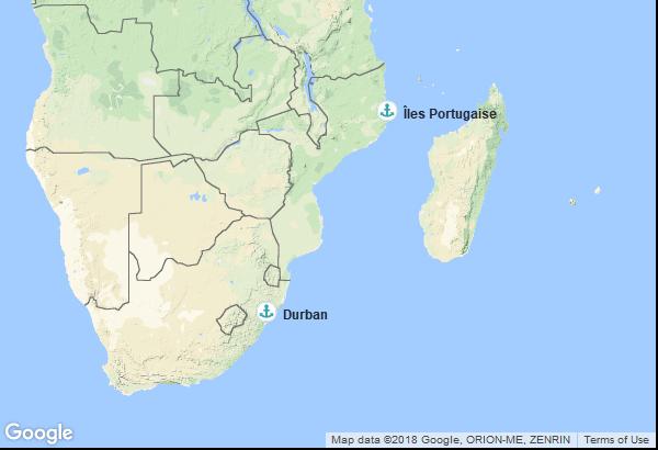 Itinéraire de la croisière : Afrique du Sud, Mozambique