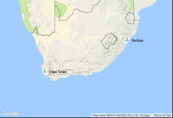 Itinéraire de la croisière : Afrique du Sud