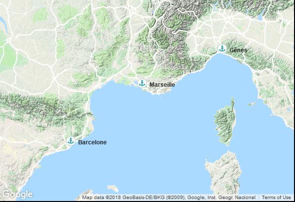 Itinéraire de la croisière : Italie, France, Espagne
