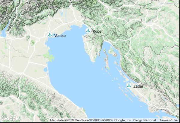 Itinéraire de la croisière : Italie, Croatie, Slovénie