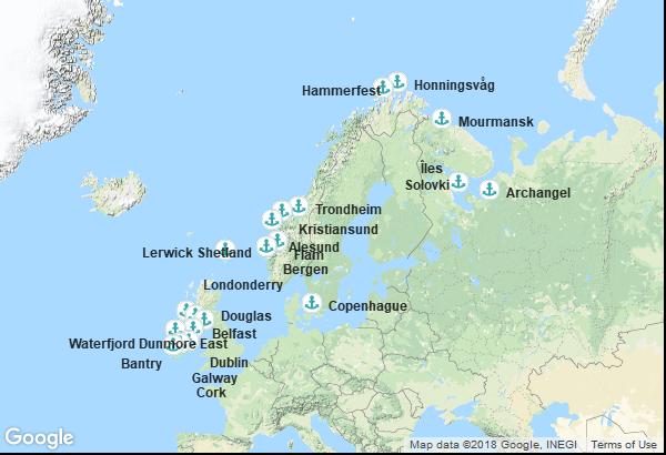 Itinéraire de la croisière : Irlande, Irlande du Nord, île de Man, Ecosse, Norvège, Russie, Danemark