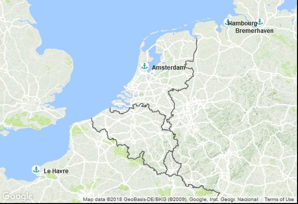 Itinéraire de la croisière : France, Allemagne, Pays Bas