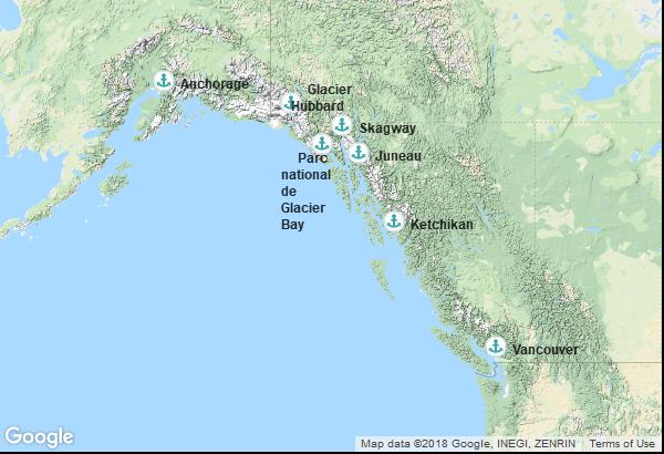 Itinéraire de la croisière : Alaska, Canada