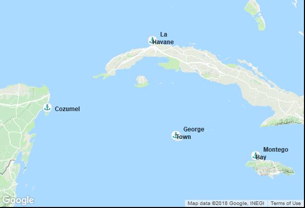 Itinéraire de la croisière : Cuba, Jamaïque, Îles Caïmans, Mexique