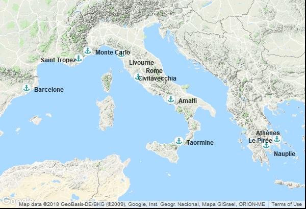 Itinéraire de la croisière : Espagne, France, Monaco, Italie, Grèce