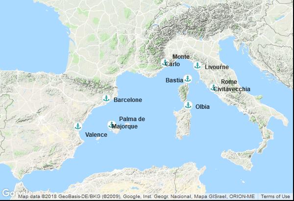 Itinéraire de la croisière : Italie, France, Monaco, Espagne