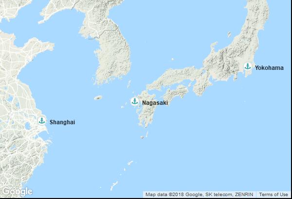 Itinéraire de la croisière : Chine, Japon