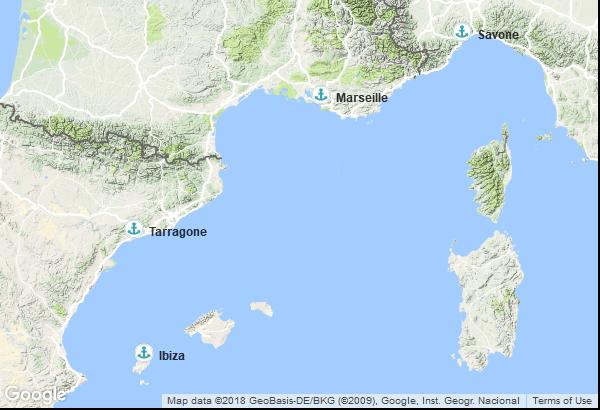 Itinéraire de la croisière : France, Italie, Espagne, Îles Baléares