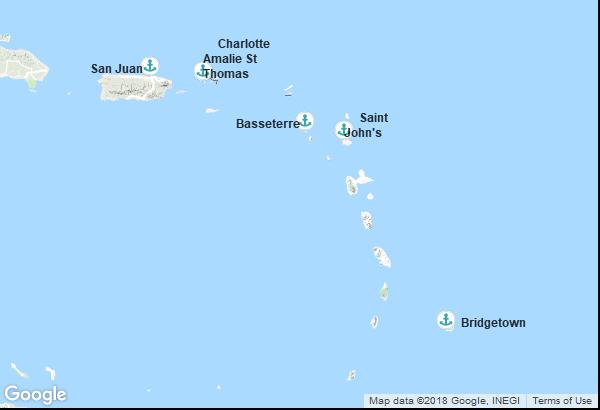 Itinéraire de la croisière : Porto Rico, Îles Vierges, Saint-Christophe-et-Niévès, Antigua et Barbuda, Barbade