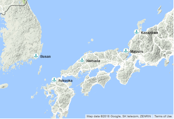 Itinéraire de la croisière : Japon, Corée du Sud
