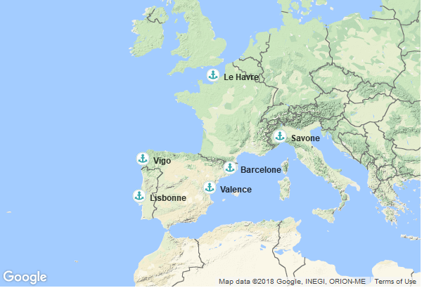 Itinéraire de la croisière : Italie, Espagne, Portugal, France