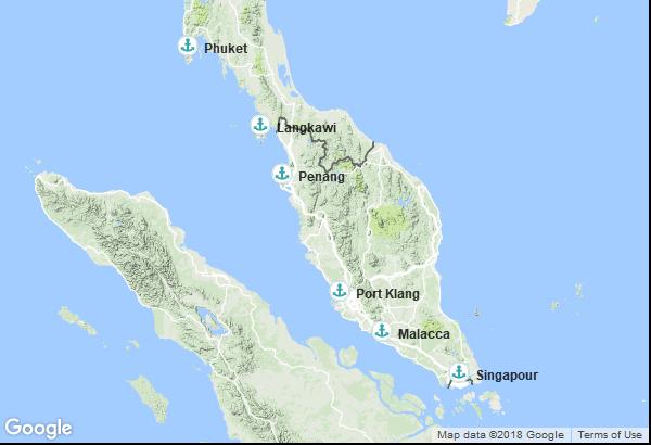 Itinéraire de la croisière : Singapour, Malaisie, Thaïlande