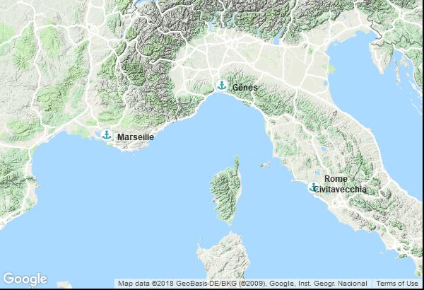 Itinéraire de la croisière : Italie, France