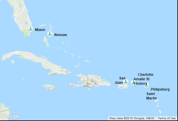 Itinéraire de la croisière : États-Unis, Porto Rico, Îles Vierges, Antilles néerlandaises, Bahamas
