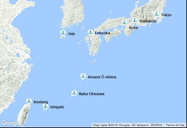 Itinéraire de la croisière : Japon, Corée du Sud, Chine