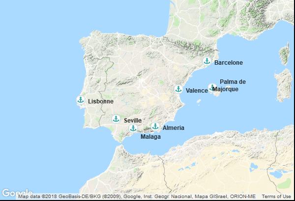 Itinéraire de la croisière : Portugal, Espagne