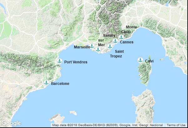 Itinéraire de la croisière : Espagne, France, Monaco