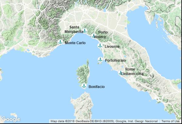 Itinéraire de la croisière : Monaco, Italie, France