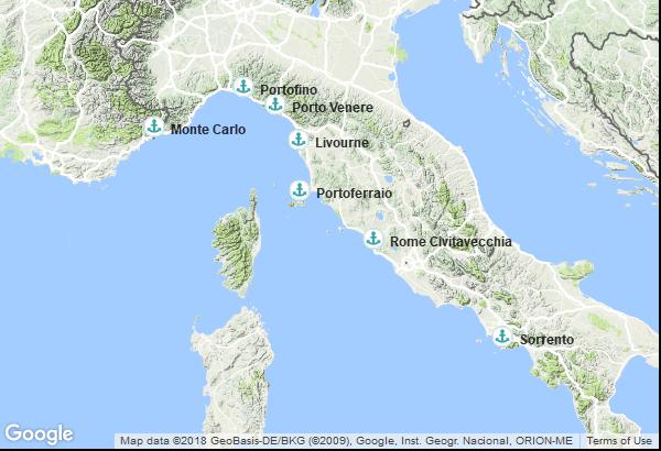 Itinéraire de la croisière : Italie, Monaco