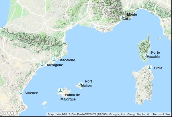 Itinéraire de la croisière : Monaco, France, Italie, Îles Baléares, Espagne