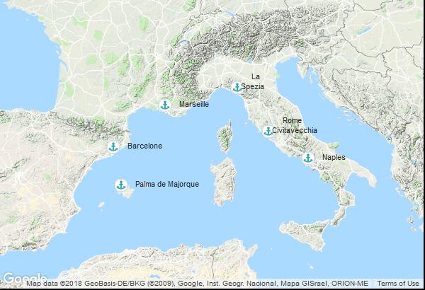 Itinéraire de la croisière : Italie, Espagne, France