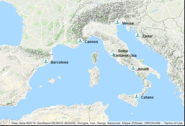 Itinéraire de la croisière : Espagne, France, Italie, Croatie