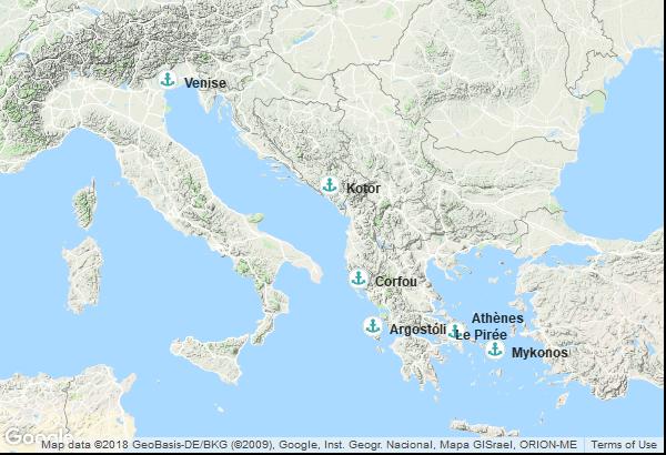 Itinéraire de la croisière : Italie, Montenegro, Grèce