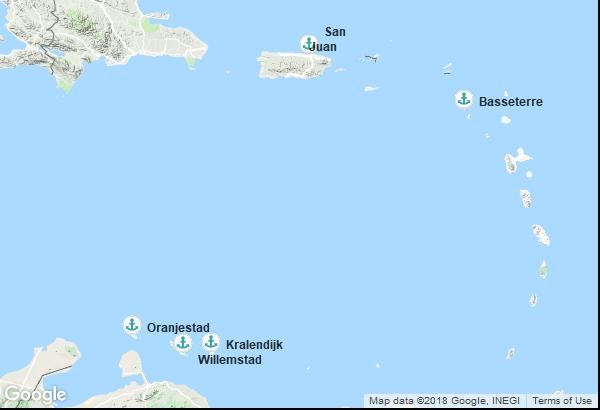 Itinéraire de la croisière : Porto Rico, Saint-Christophe-et-Niévès, Aruba, Curaçao, Bonaire