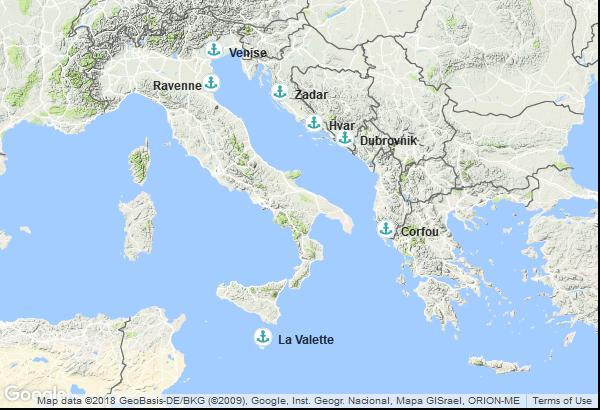 Itinéraire de la croisière : Malte, Grèce, Croatie, Italie