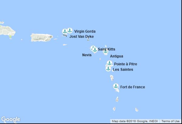 Itinéraire de la croisière : Antigua et Barbuda, Martinique, Îles Vierges britanniques, Guadeloupe, Saint Christophe et Niévès, Saint-Christophe-et-Niévès