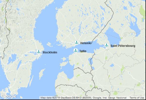 Itinéraire de la croisière : Suède, Finlande, Russie, Estonie