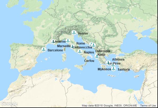 Itinéraire de la croisière : Italie, Montenegro, Croatie, Grèce, France, Espagne