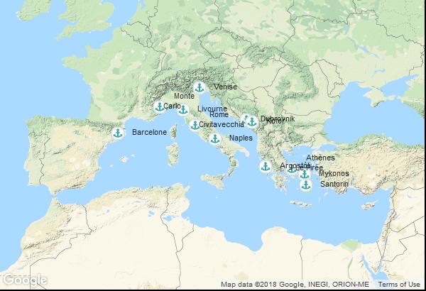 Itinéraire de la croisière : Espagne, Monaco, Italie, Grèce, Montenegro, Croatie