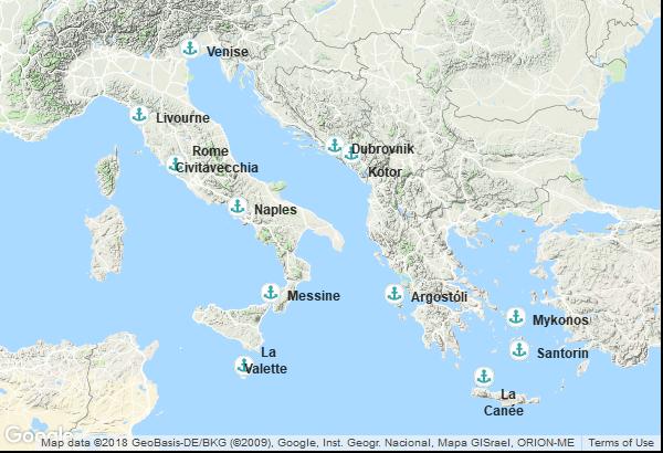 Itinéraire de la croisière : Italie, Montenegro, Croatie, Grèce, Malte